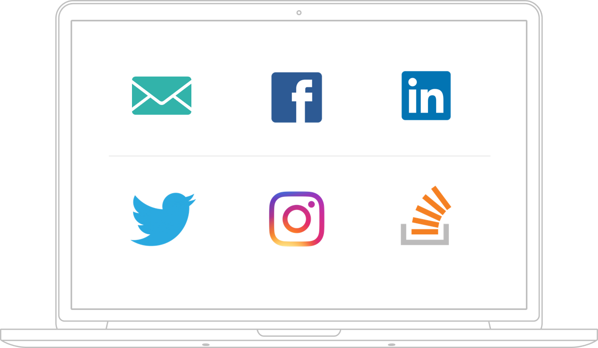 Laptop with social media icons